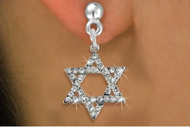<BR> WHOLESALE FASHION RELIGIOUS EARRINGS  <bR>                   EXCLUSIVELY OURS!!  <Br>              AN ALLAN ROBIN DESIGN!!  <BR>        LEAD, NICKEL & CADMIUM FREE!!  <BR>W1670SE - SILVER TONE & CLEAR CRYSTAL  <BR>HEBREW / JEWISH STAR OF DAVID CHARM ON <BR>    SURGICAL STEEL POST STYLE EARRINGS  <BR>          FROM $5.40 TO $10.45 �2015
