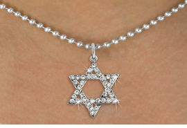 <BR>    WHOLESALE FASHION RELIGIOUS JEWELRY  <bR>                     EXCLUSIVELY OURS!!  <Br>                AN ALLAN ROBIN DESIGN!!  <BR>          LEAD, NICKEL & CADMIUM FREE!!  <BR>  W1670SN - SILVER TONE & CLEAR CRYSTAL <BR> HEBREW / JEWISH STAR OF DAVID CHARM ON <BR>         ADJUSTABLE BALL CHAIN NECKLACE  <BR>              FROM $5.40 TO $9.85 �2015