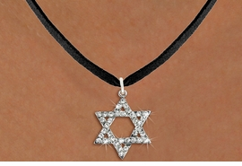 <BR>    WHOLESALE FASHION RELIGIOUS JEWELRY  <bR>                     EXCLUSIVELY OURS!!  <Br>                AN ALLAN ROBIN DESIGN!!  <BR>          LEAD, NICKEL & CADMIUM FREE!!  <BR>  W1670SN - SILVER TONE & CLEAR CRYSTAL <BR> HEBREW / JEWISH STAR OF DAVID CHARM ON <BR>       BLACK SUEDE LEATHERETTE NECKLACE  <BR>              FROM $5.40 TO $9.85 �2015