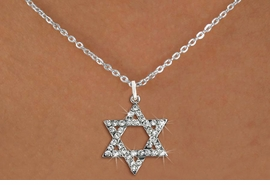 <BR>    WHOLESALE FASHION RELIGIOUS JEWELRY  <bR>                     EXCLUSIVELY OURS!!  <Br>                AN ALLAN ROBIN DESIGN!!  <BR>          LEAD, NICKEL & CADMIUM FREE!!  <BR>  W1670SN - SILVER TONE & CLEAR CRYSTAL <BR> HEBREW / JEWISH STAR OF DAVID CHARM ON <BR>  LOBSTER CLASP DELICATE CHAIN NECKLACE  <BR>              FROM $5.40 TO $9.85 �2015