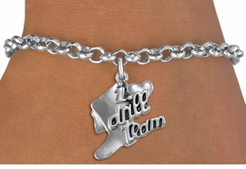 "<br>            DRILL TEAM CHARM BRACELET  <bR>                    EXCLUSIVELY OURS!!  <BR>               AN ALLAN ROBIN DESIGN!!  <BR>         CADMIUM, LEAD & NICKEL FREE!!  <BR>     W1671SB - DETAILED 3D SILVER TONE  <Br>""I LOVE DRILL TEAM"" BOOT & HEART CHARM  <BR> ON SILVER TONE LOBSTER CLASP BRACELET <BR>                      $8.68 EACH  �2015"