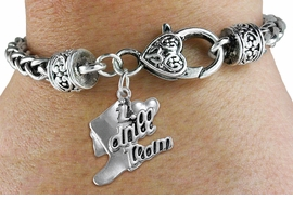 "<bR>           DRILL TEAM CHARM BRACELET  <BR>                     EXCLUSIVELY OURS!!  <BR>                AN ALLAN ROBIN DESIGN!!  <BR>          CADMIUM, LEAD & NICKEL FREE!!  <BR>      W1671SB - DETAILED 3D SILVER TONE  <BR> ""I LOVE DRILL TEAM"" BOOT & HEART CHARM  <BR> ON HEART SHAPED LOBSTER CLASP BRACELET  <BR>                        $9.68 EACH �2015"