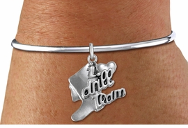 "<bR>      WHOLESALE FASHION CHARM BRACELET  <BR>                     EXCLUSIVELY OURS!!  <BR>                AN ALLAN ROBIN DESIGN!!  <BR>          CADMIUM, LEAD & NICKEL FREE!!  <BR>      W1671SB - DETAILED 3D SILVER TONE  <BR> ""I LOVE DRILL TEAM"" BOOT & HEART CHARM  <BR>    ON SILVER TONE SOLID WIRE OPEN CUFF <BR>     BRACELET FROM $4.40 TO $9.20 �2015"