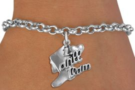 """<br>            DRILL TEAM CHARM BRACELET  <bR>                    EXCLUSIVELY OURS!!  <BR>               AN ALLAN ROBIN DESIGN!!  <BR>         CADMIUM, LEAD & NICKEL FREE!!  <BR>     W1671SB - DETAILED 3D SILVER TONE  <Br>""""I LOVE DRILL TEAM"""" BOOT & HEART CHARM  <BR> ON SILVER TONE LOBSTER CLASP BRACELET <BR>                      $8.68 EACH  �2015"""