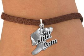 """<br>      WHOLESALE FASHION CHARM BRACELET  <bR>                    EXCLUSIVELY OURS!!  <BR>               AN ALLAN ROBIN DESIGN!!  <BR>         CADMIUM, LEAD & NICKEL FREE!!  <BR>     W1671SB - DETAILED 3D SILVER TONE  <Br>""""I LOVE DRILL TEAM"""" BOOT & HEART CHARM  <BR>   ON BROWN SUEDE LEATHERETTE BRACELET <BR>             FROM $4.50 TO $8.35 �2015"""