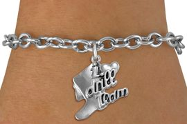 """<br>      WHOLESALE FASHION CHARM BRACELET  <bR>                    EXCLUSIVELY OURS!!  <BR>               AN ALLAN ROBIN DESIGN!!  <BR>         CADMIUM, LEAD & NICKEL FREE!!  <BR>     W1671SB - DETAILED 3D SILVER TONE  <Br>""""I LOVE DRILL TEAM"""" BOOT & HEART CHARM  <BR>   ON TOGGLE CLASP CHAIN LINK BRACELET <BR>             FROM $4.50 TO $8.35 �2015"""