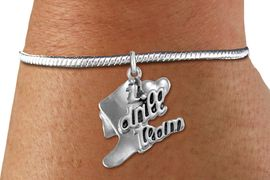"""<bR>      WHOLESALE FASHION CHARM BRACELET  <BR>                     EXCLUSIVELY OURS!!  <BR>                AN ALLAN ROBIN DESIGN!!  <BR>          CADMIUM, LEAD & NICKEL FREE!!  <BR>      W1671SB - DETAILED 3D SILVER TONE  <BR> """"I LOVE DRILL TEAM"""" BOOT & HEART CHARM  <BR>    ON SILVER TONE SNAKE CHAIN BRACELET  <BR>             FROM $4.40 TO $9.20 �2015"""