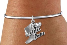 """<bR>      WHOLESALE FASHION CHARM BRACELET  <BR>                     EXCLUSIVELY OURS!!  <BR>                AN ALLAN ROBIN DESIGN!!  <BR>          CADMIUM, LEAD & NICKEL FREE!!  <BR>      W1671SB - DETAILED 3D SILVER TONE  <BR> """"I LOVE DRILL TEAM"""" BOOT & HEART CHARM  <BR>    ON SILVER TONE SOLID WIRE OPEN CUFF <BR>     BRACELET FROM $4.40 TO $9.20 �2015"""