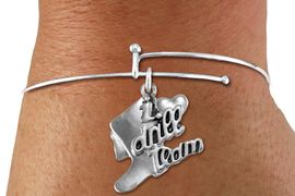 """<bR>      WHOLESALE FASHION CHARM BRACELET  <BR>                     EXCLUSIVELY OURS!!  <BR>                AN ALLAN ROBIN DESIGN!!  <BR>          CADMIUM, LEAD & NICKEL FREE!!  <BR>      W1671SB - DETAILED 3D SILVER TONE  <BR> """"I LOVE DRILL TEAM"""" BOOT & HEART CHARM  <BR>ON THIN ADJUSTABLE SILVER TONE BRACELET  <BR>             FROM $4.40 TO $9.20 �2015"""