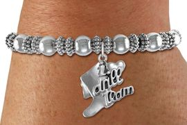 """<bR>      WHOLESALE FASHION CHARM BRACELET  <BR>                     EXCLUSIVELY OURS!!  <BR>                AN ALLAN ROBIN DESIGN!!  <BR>          CADMIUM, LEAD & NICKEL FREE!!  <BR>      W1671SB - DETAILED 3D SILVER TONE  <BR> """"I LOVE DRILL TEAM"""" BOOT & HEART CHARM  <BR>ON SILVER TONE BEADED STRETCH BRACELET  <BR>             FROM $4.50 TO $10.00 �2015"""