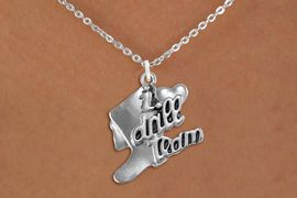 """<br>      WHOLESALE FASHION DANCE JEWELRY  <bR>                   EXCLUSIVELY OURS!!  <BR>              AN ALLAN ROBIN DESIGN!!  <BR>        CADMIUM, LEAD & NICKEL FREE!!  <BR>    W1671SN - DETAILED 3D SILVER TONE  <BR>""""I LOVE DRILL TEAM"""" BOOT & HEART CHARM  <BR>  ON LOBSTER CLASP CHAIN LINK NECKLACE  <BR>             FROM $4.85 TO $8.30 �2015"""