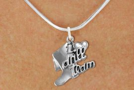 """<br>                    DRILL TEAM JEWELRY  <bR>                   EXCLUSIVELY OURS!!  <BR>              AN ALLAN ROBIN DESIGN!!  <BR>        CADMIUM, LEAD & NICKEL FREE!!  <BR>    W1671SN - DETAILED 3D SILVER TONE  <BR>""""I LOVE DRILL TEAM"""" BOOT & HEART CHARM  <BR> ON LOBSTER CLASP SNAKE CHAIN NECKLACE  <BR>                            $9.68 EACH �2015"""