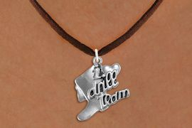 """<br>      WHOLESALE FASHION DANCE JEWELRY  <bR>                   EXCLUSIVELY OURS!!  <BR>              AN ALLAN ROBIN DESIGN!!  <BR>        CADMIUM, LEAD & NICKEL FREE!!  <BR>    W1671SN - DETAILED 3D SILVER TONE  <BR>""""I LOVE DRILL TEAM"""" BOOT & HEART CHARM  <BR>  ON BROWN SUEDE LEATHERETTE NECKLACE  <BR>             FROM $4.85 TO $8.30 �2015"""