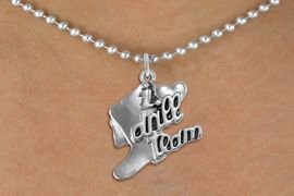 """<br>      WHOLESALE FASHION DANCE JEWELRY  <bR>                   EXCLUSIVELY OURS!!  <BR>              AN ALLAN ROBIN DESIGN!!  <BR>        CADMIUM, LEAD & NICKEL FREE!!  <BR>    W1671SN - DETAILED 3D SILVER TONE  <BR>""""I LOVE DRILL TEAM"""" BOOT & HEART CHARM  <BR>    ON SILVER TONE 18 INCH BALL CHAIN  <BR>   NECKLACE FROM $4.85 TO $8.30 �2015"""