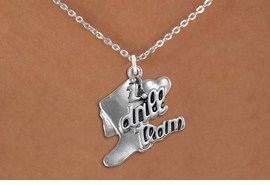 "<br>      WHOLESALE FASHION DANCE JEWELRY  <bR>                   EXCLUSIVELY OURS!!  <BR>              AN ALLAN ROBIN DESIGN!!  <BR>        CADMIUM, LEAD & NICKEL FREE!!  <BR>    W1671SN - DETAILED 3D SILVER TONE  <BR>""I LOVE DRILL TEAM"" BOOT & HEART CHARM  <BR>  ON LOBSTER CLASP CHAIN LINK NECKLACE  <BR>             FROM $4.85 TO $8.30 �2015"