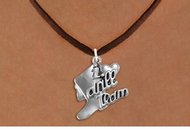 "<br>      WHOLESALE FASHION DANCE JEWELRY  <bR>                   EXCLUSIVELY OURS!!  <BR>              AN ALLAN ROBIN DESIGN!!  <BR>        CADMIUM, LEAD & NICKEL FREE!!  <BR>    W1671SN - DETAILED 3D SILVER TONE  <BR>""I LOVE DRILL TEAM"" BOOT & HEART CHARM  <BR>  ON BROWN SUEDE LEATHERETTE NECKLACE  <BR>             FROM $4.85 TO $8.30 �2015"