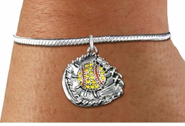 <BR>    WHOLESALE FASHION SOFTBALL JEWELRY  <bR>                    EXCLUSIVELY OURS!!  <Br>               AN ALLAN ROBIN DESIGN!!  <BR>         LEAD, NICKEL & CADMIUM FREE!!  <BR>   W1713SB7 - ANTIQUED SILVER TONE AND  <BR>YELLOW CRYSTAL SOFTBALL GLOVE AND BALL  <BR>      CHARM ON SILVER TONE SNAKE CHAIN  <Br>   BRACELET FROM $5.98 TO $12.85 �2015