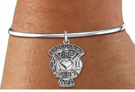 "<BR>WHOLESALE FIRE DEPT BRACELET JEWELRY <bR>                EXCLUSIVELY OURS!! <Br>           AN ALLAN ROBIN DESIGN!! <BR>     LEAD, NICKEL & CADMIUM FREE!! <BR> W1672SB8 - DETAILED SILVER TONE FIRE DEPT <BR>SHIELD WITH ""FIREFIGHTER'S WIFE"" CHARM ON <BR>ADJUSTABLE SILVER TONE OPEN CUFF BRACELET <Br>     FROM $5.63 TO $12.50 �2015"