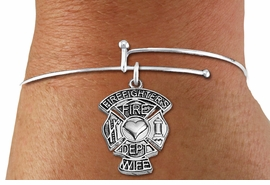 "<BR>WHOLESALE FIRE DEPT BRACELET JEWELRY <bR>                EXCLUSIVELY OURS!! <Br>           AN ALLAN ROBIN DESIGN!! <BR>     LEAD, NICKEL & CADMIUM FREE!! <BR> W1672SB9 - DETAILED SILVER TONE FIRE DEPT <BR>SHIELD WITH ""FIREFIGHTER'S WIFE"" CHARM ON <BR>ADJUSTABLE SILVER TONE THIN WIRE BRACELET <Br>     FROM $5.63 TO $12.50 �2015"