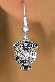 "<BR>  WHOLESALE FIRE FIGHTER EARRINGS <bR>              EXCLUSIVELY OURS!! <Br>         AN ALLAN ROBIN DESIGN!! <BR>   LEAD, NICKEL & CADMIUM FREE!! <BR> W1672SE1 - DETAILED SILVER TONE FIRE DEPT <BR>SHIELD WITH ""FIREFIGHTER'S WIFE"" CHARM <BR> FISHHOOK EARRINGS FROM $4.95 TO $10.00 �2015"