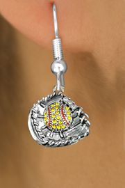 <BR>     SOFTBALL EARRINGS  <bR>          <Br>                   <BR>            LEAD, NICKEL & CADMIUM FREE!!  <BR>      W1713E1 - ANTIQUED SILVER TONE AND  <BR>  YELLOW CRYSTAL SOFTBALL GLOVE WITH BALL  <BR>CHARM ON SURGICAL STEEL FISHHOOK EARRINGS <BR>               $11.68 �2015