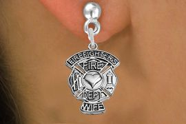 "<BR>  WHOLESALE FIRE FIGHTER EARRINGS <bR>              EXCLUSIVELY OURS!! <Br>         AN ALLAN ROBIN DESIGN!! <BR>   LEAD, NICKEL & CADMIUM FREE!! <BR> W1672SE2 - DETAILED SILVER TONE FIRE DEPT <BR>SHIELD WITH ""FIREFIGHTER'S WIFE"" CHARM <BR>POST STYLE EARRINGS FROM $4.95 TO $10.00 �2015"