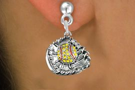 <BR>      WHOLESALE SOFTBALL FASHION EARRINGS  <bR>                       EXCLUSIVELY OURS!!  <Br>                  AN ALLAN ROBIN DESIGN!!  <BR>            LEAD, NICKEL & CADMIUM FREE!!  <BR>      W1713SE2 - ANTIQUED SILVER TONE AND  <BR>  YELLOW CRYSTAL SOFTBALL GLOVE WITH BALL  <BR>CHARM ON SURGICAL STEEL POST STYLE EARRINGS <BR>               FROM $5.40 TO $10.45 �2015