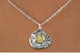 <BR>   SOFTBALL NECKLACES - ADJUSTABLE  <bR>                      <Br>   <BR>         LEAD, NICKEL & CADMIUM FREE!!  <BR>   W1713N1 - ANTIQUED SILVER TONE AND  <BR>YELLOW CRYSTAL SOFTBALL GLOVE AND BALL  <BR> CHARM ON LOBSTER CLASP CHAIN NECKLACE  <BR>             �2015  $9.68 EACH