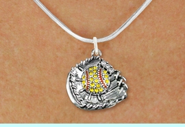 <BR>  SOFTBALL NECKLACES - ADJUSTABLE  <bR>                     <Br>                                        <BR>     LEAD, NICKEL & CADMIUM FREE!!  <BR>   W1713N2 - ANTIQUED SILVER TONE AND  <BR>YELLOW CRYSTAL SOFTBALL GLOVE AND BALL  <BR>CHARM ON BEAUTIFUL SNAKE CHAIN NECKLACE  <BR>             $9.68 EACH  �2015