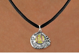 <BR> SOFTBALL NECKLACES - ADJUSTABLE  <bR>                   <Br>                <BR>         LEAD, NICKEL & CADMIUM FREE!!  <BR>   W1713N3 - ANTIQUED SILVER TONE AND  <BR>YELLOW CRYSTAL SOFTBALL GLOVE AND BALL  <BR> CHARM ON BLACK SUEDE LEATHER NECKLACE  <BR>             $9.68 EACH �2015