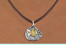 <BR>   SOFTBALL NECKLACE - ADJUSTABLE  <bR>                    <Br>               <BR>         LEAD, NICKEL & CADMIUM FREE!!  <BR>   W1713N4 - ANTIQUED SILVER TONE AND  <BR>YELLOW CRYSTAL SOFTBALL GLOVE AND BALL  <BR> CHARM ON BROWN SUEDE LEATHER NECKLACE  <BR>              $9.68 EACH  �2015