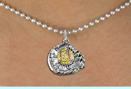 """<BR>   SOFTBALL NECKLACE - ADJUSTABLE  <bR>                      <Br>         <BR>         LEAD, NICKEL, & CADMIUM FREE!!  <BR>   W1713SN5 - ANTIQUED SILVER TONE AND  <BR>YELLOW CRYSTAL SOFTBALL GLOVE AND BALL  <BR> CHARM ON 18"""" LONG BALL CHAIN NECKLACE  <BR>              $9.68 EACH  �2015"""