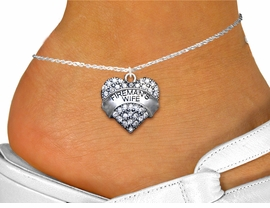 "<bR>  WHOLESALE FIREFIGHTER FASHION JEWELRY <BR>                     EXCLUSIVELY OURS!! <BR>                AN ALLAN ROBIN DESIGN!! <BR>          LEAD, NICKEL & CADMIUM FREE!! <BR>W1673SA1 - SILVER TONE AND CLEAR CRYSTAL <BR>""FIREMAN'S WIFE"" HEART CHARM  <Br>   AND ANKLET FROM $4.70 TO $9.35 �2015"