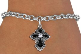<BR>   WHOLESALE FASHION CHRISTIAN JEWELRY  <bR>                    EXCLUSIVELY OURS!!  <Br>               AN ALLAN ROBIN DESIGN!!  <BR>      CLICK HERE TO SEE 1000+ EXCITING  <BR>            CHANGES THAT YOU CAN MAKE!  <BR>         LEAD, NICKEL & CADMIUM FREE!!  <BR>   W1712SB - ANTIQUED SILVER TONE AND  <BR>    JET AND CLEAR CRYSTAL GOTHIC CROSS  <BR> CHARM ON LOBSTER CLASP CHAIN BRACELET  <BR>             FROM $5.40 TO $9.85 �2015