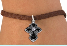 <BR>   WHOLESALE FASHION CHRISTIAN JEWELRY  <bR>                    EXCLUSIVELY OURS!!  <Br>               AN ALLAN ROBIN DESIGN!!  <BR>      CLICK HERE TO SEE 1000+ EXCITING  <BR>            CHANGES THAT YOU CAN MAKE!  <BR>         LEAD, NICKEL & CADMIUM FREE!!  <BR>   W1712SB - ANTIQUED SILVER TONE AND  <BR>    JET AND CLEAR CRYSTAL GOTHIC CROSS  <BR> CHARM ON BROWN SUEDE LEATHER BRACELET  <BR>             FROM $5.40 TO $9.85 �2015