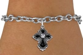 <BR>   WHOLESALE FASHION CHRISTIAN JEWELRY  <bR>                    EXCLUSIVELY OURS!!  <Br>               AN ALLAN ROBIN DESIGN!!  <BR>      CLICK HERE TO SEE 1000+ EXCITING  <BR>            CHANGES THAT YOU CAN MAKE!  <BR>         LEAD, NICKEL & CADMIUM FREE!!  <BR>   W1712SB - ANTIQUED SILVER TONE AND  <BR>    JET AND CLEAR CRYSTAL GOTHIC CROSS  <BR> CHARM ON TOGGLE CLASP CHAIN BRACELET  <BR>             FROM $5.40 TO $9.85 �2015