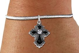 <BR>   WHOLESALE FASHION CHRISTIAN JEWELRY  <bR>                    EXCLUSIVELY OURS!!  <Br>               AN ALLAN ROBIN DESIGN!!  <BR>         LEAD, NICKEL & CADMIUM FREE!!  <BR>    W1712SB - ANTIQUED SILVER TONE AND  <BR>    CLEAR AND JET CRYSTAL GOTHIC CROSS  <BR>  CHARM ON SMOOTH SNAKE CHAIN BRACELET  <Br>            FROM $5.98 TO $12.85 �2015