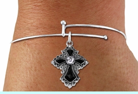 <BR>   WHOLESALE FASHION CHRISTIAN JEWELRY  <bR>                    EXCLUSIVELY OURS!!  <Br>               AN ALLAN ROBIN DESIGN!!  <BR>         LEAD, NICKEL & CADMIUM FREE!!  <BR>    W1712SB - ANTIQUED SILVER TONE AND  <BR>    CLEAR AND JET CRYSTAL GOTHIC CROSS  <BR>CHARM ON ADJUSTABLE THIN WIRE BRACELET  <Br>            FROM $5.98 TO $12.85 �2015
