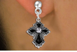 <BR>    WHOLESALE CHRISTIAN FASHION EARRINGS  <bR>                      EXCLUSIVELY OURS!!  <Br>                 AN ALLAN ROBIN DESIGN!!  <BR>           LEAD, NICKEL & CADMIUM FREE!!  <BR>      W1712SE - ANTIQUED SILVER TONE AND  <BR>CLEAR AND JET CRYSTAL GOTHIC CROSS CHARM  <BR>  ON SURGICAL STEEL POST STYLE EARRINGS <BR>              FROM $5.40 TO $10.45 �2015