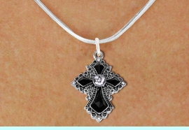 <BR>   WHOLESALE FASHION CHRISTIAN JEWELRY  <bR>                    EXCLUSIVELY OURS!!  <Br>               AN ALLAN ROBIN DESIGN!!  <BR>      CLICK HERE TO SEE 1000+ EXCITING  <BR>            CHANGES THAT YOU CAN MAKE!  <BR>         LEAD, NICKEL & CADMIUM FREE!!  <BR>    W1712SN - ANTIQUED SILVER TONE AND  <BR>    JET AND CLEAR CRYSTAL GOTHIC CROSS <BR>  CHARM ON SMOOTH SNAKE CHAIN NECKLACE  <BR>                              FROM $7.38 �2015