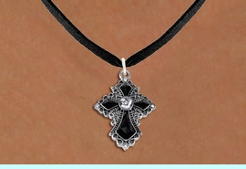 <BR>   WHOLESALE FASHION CHRISTIAN JEWELRY  <bR>                    EXCLUSIVELY OURS!!  <Br>               AN ALLAN ROBIN DESIGN!!  <BR>      CLICK HERE TO SEE 1000+ EXCITING  <BR>            CHANGES THAT YOU CAN MAKE!  <BR>         LEAD, NICKEL & CADMIUM FREE!!  <BR>    W1712SN - ANTIQUED SILVER TONE AND  <BR>    JET AND CLEAR CRYSTAL GOTHIC CROSS <BR> CHARM ON BLACK SUEDE LEATHER NECKLACE  <BR>                             FROM $7.38 �2015
