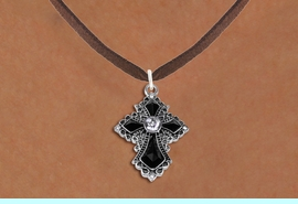 <BR>   WHOLESALE FASHION CHRISTIAN JEWELRY  <bR>                    EXCLUSIVELY OURS!!  <Br>               AN ALLAN ROBIN DESIGN!!  <BR>      CLICK HERE TO SEE 1000+ EXCITING  <BR>            CHANGES THAT YOU CAN MAKE!  <BR>         LEAD, NICKEL & CADMIUM FREE!!  <BR>    W1712SN - ANTIQUED SILVER TONE AND  <BR>    JET AND CLEAR CRYSTAL GOTHIC CROSS <BR> CHARM ON BROWN SUEDE LEATHER NECKLACE  <BR>                               FROM $7.38 �2015
