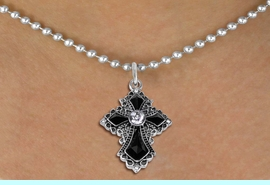 """<BR>   WHOLESALE FASHION CHRISTIAN JEWELRY  <bR>                    EXCLUSIVELY OURS!!  <Br>               AN ALLAN ROBIN DESIGN!!  <BR>      CLICK HERE TO SEE 1000+ EXCITING  <BR>            CHANGES THAT YOU CAN MAKE!  <BR>         LEAD, NICKEL & CADMIUM FREE!!  <BR>    W1712SN - ANTIQUED SILVER TONE AND  <BR>    JET AND CLEAR CRYSTAL GOTHIC CROSS <BR>      CHARM ON 18"""" BALL CHAIN NECKLACE  <BR>                              FROM $7.38 �2015"""