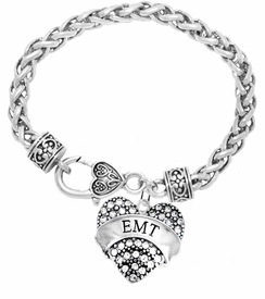 "<BR>WHOLESALE EMERGENCY MEDICAL TECH JEWELRY   <br>                          HYPOALLERGENIC   <BR>           NICKEL, LEAD & CADMIUM FREE!!   <BR>       W1676B1 - SILVER TONE AND CRYSTAL  <BR>  EMERGENCY MEDICAL ""EMT"" HEART CHARM ON   <BR>     HEART SHAPED LOBSTER CLASP BRACELET  <br>              FROM $5.98 TO $12.85 �2015"
