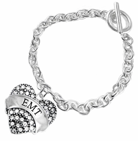 "<BR>WHOLESALE EMERGENCY MEDICAL TECH JEWELRY   <br>                          HYPOALLERGENIC   <BR>           NICKEL, LEAD & CADMIUM FREE!!   <BR>       W1676B5 - SILVER TONE AND CRYSTAL  <BR>  EMERGENCY MEDICAL ""EMT"" HEART CHARM ON   <BR>               CHAIN LINK CLASP BRACELET  <br>              FROM $5.98 TO $12.85 �2015"