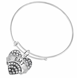 "<BR>WHOLESALE EMERGENCY MEDICAL TECH JEWELRY   <br>                          HYPOALLERGENIC   <BR>           NICKEL, LEAD & CADMIUM FREE!!   <BR>       W1676B9 - SILVER TONE AND CRYSTAL  <BR>  EMERGENCY MEDICAL ""EMT"" HEART CHARM ON   <BR>     ADJUSTABLE SOLID THIN WIRE BRACELET  <br>              FROM $5.98 TO $12.85 �2015"
