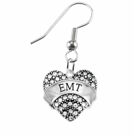 "<BR>WHOLESALE EMERGENCY MEDICAL TECH JEWELRY   <br>                          HYPOALLERGENIC   <BR>           NICKEL, LEAD & CADMIUM FREE!!   <BR>       W1676E1 - SILVER TONE AND CRYSTAL  <BR>  EMERGENCY MEDICAL ""EMT"" HEART CHARM ON   <BR>      STAINLESS STEEL FISH HOOK EARRINGS  <br>              FROM $5.98 TO $12.85 �2015"