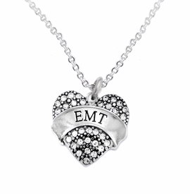 "<BR>WHOLESALE EMERGENCY MEDICAL TECH JEWELRY   <br>                          HYPOALLERGENIC   <BR>           NICKEL, LEAD & CADMIUM FREE!!   <BR>       W1676N1 - SILVER TONE AND CRYSTAL  <BR>  EMERGENCY MEDICAL ""EMT"" HEART CHARM ON   <BR>       CHAIN LINK LOBSTER CLASP NECKLACE <br>              FROM $5.98 TO $12.85 �2015"