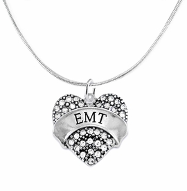 "<BR>WHOLESALE EMERGENCY MEDICAL TECH JEWELRY   <br>                          HYPOALLERGENIC   <BR>           NICKEL, LEAD & CADMIUM FREE!!   <BR>       W1676N2 - SILVER TONE AND CRYSTAL  <BR>  EMERGENCY MEDICAL ""EMT"" HEART CHARM ON   <BR>      SNAKE CHAIN LOBSTER CLASP NECKLACE <br>              FROM $5.98 TO $12.85 �2015"
