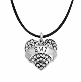 "<BR>WHOLESALE EMERGENCY MEDICAL TECH JEWELRY   <br>                          HYPOALLERGENIC   <BR>           NICKEL, LEAD & CADMIUM FREE!!   <BR>       W1676N3 - SILVER TONE AND CRYSTAL  <BR>  EMERGENCY MEDICAL ""EMT"" HEART CHARM ON   <BR>        BLACK SUEDE LEATHERETTE NECKLACE <br>              FROM $5.98 TO $12.85 �2015"